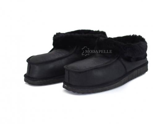 Γούνινες παντόφλες Καστοριάς κλειστές (πασούμια) mp411 μαύρο