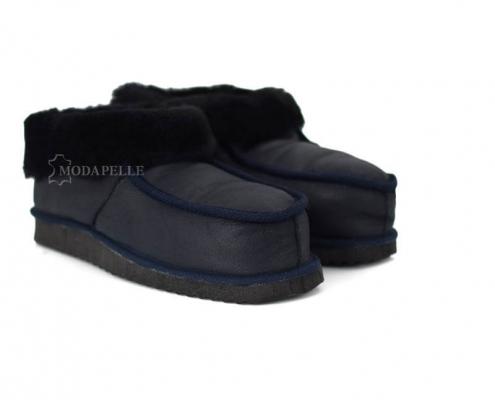 Γούνινες παντόφλες Καστοριάς κλειστές (πασούμια) mp412 μπλε