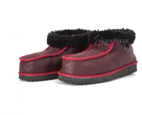 Γούνινες παντόφλες Καστοριάς κλειστές (πασούμια) mp416 μπορντό